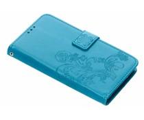 Turquoise Klavertje bloemen booktype hoes LG G7