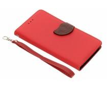 Conception De Feuille Rouge Cas Booktype Tpu Pour Samsung Galaxy A6 (2018) jDeEgiHEo