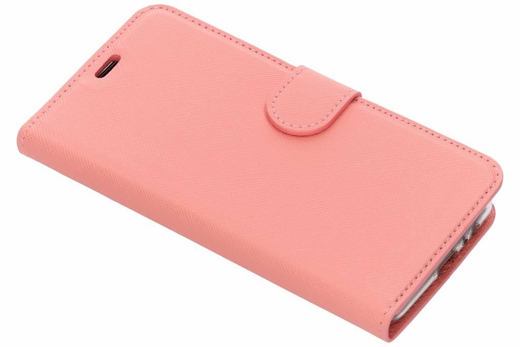 Roze Saffiano booktype hoes voor de Samsung Galaxy A8 (2018)