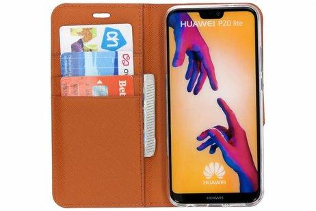 Selencia Saffiano Booktype voor Huawei P20 Lite - Oranje