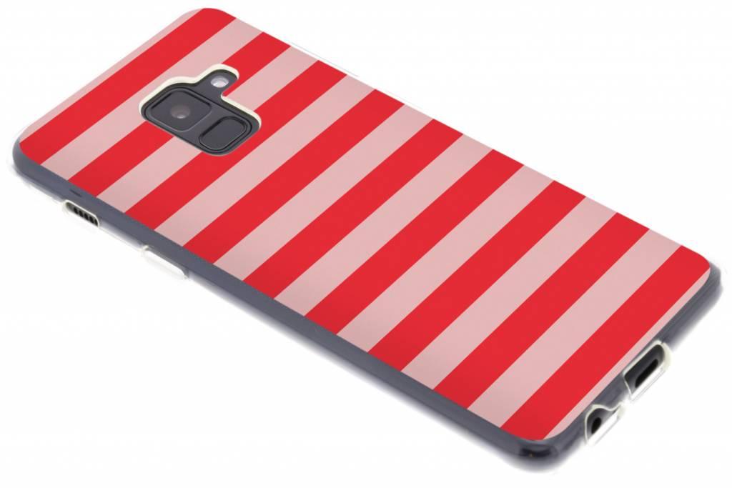 Stripe rood design siliconen hoesje voor de Samsung Galaxy A8 (2018)