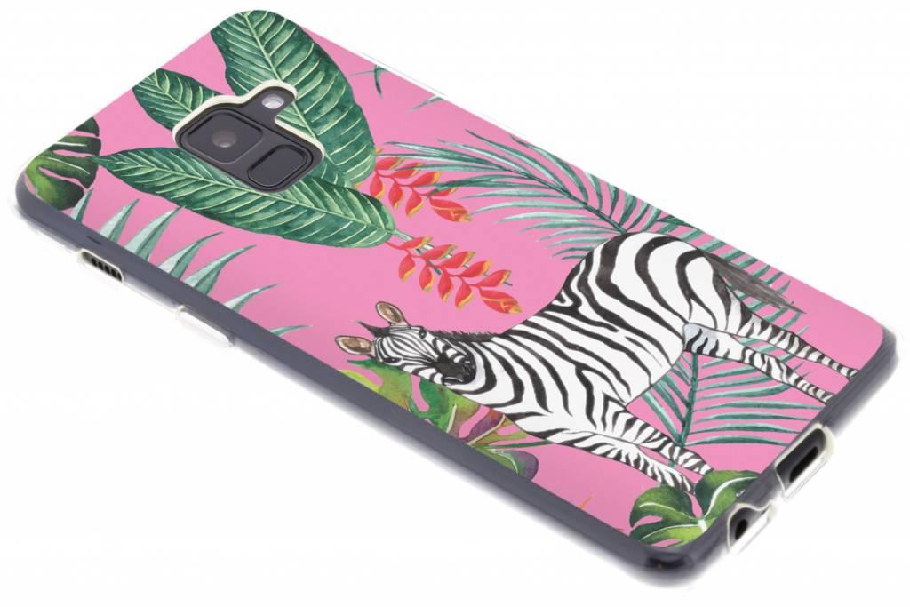 Zebra botanic design siliconen hoesje voor de Samsung Galaxy A8 (2018)
