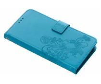 Turquoise klavertje bloemen booktype hoes Huawei Y7 (2018)