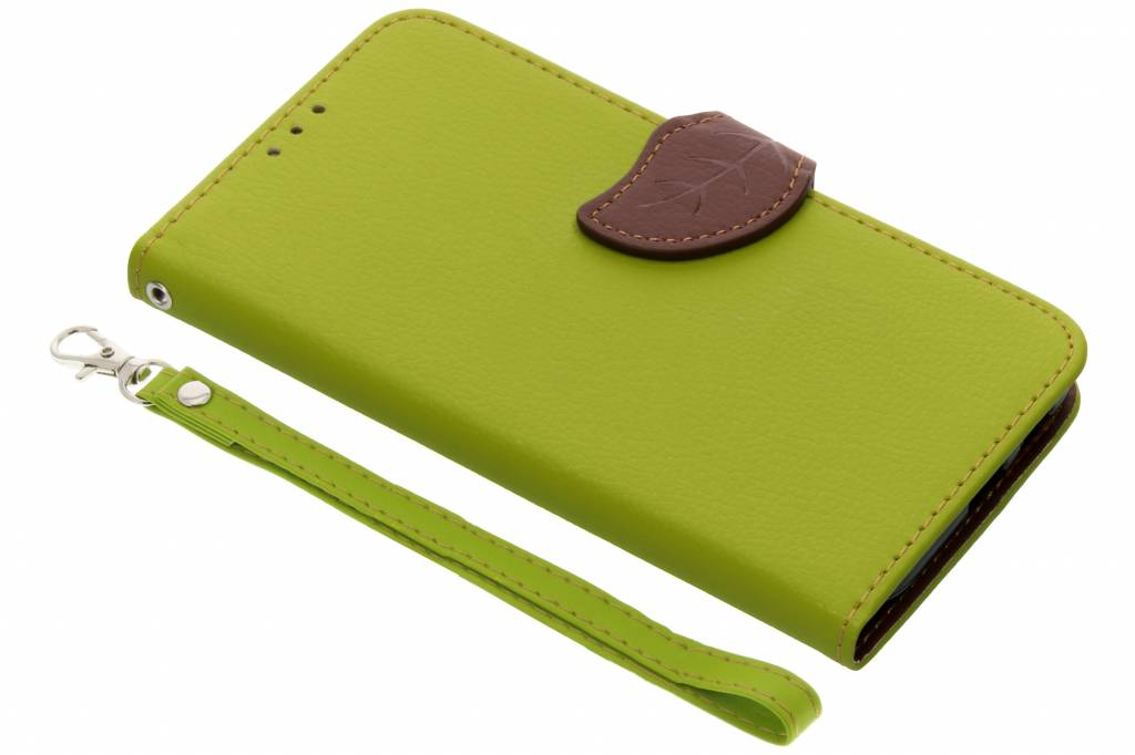 Groene blad design TPU booktype hoes voor de Samsung Galaxy A6 (2018)