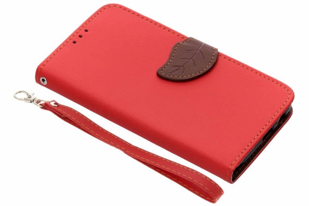 Rode blad design TPU booktype hoes voor de Samsung Galaxy A6 (2018)