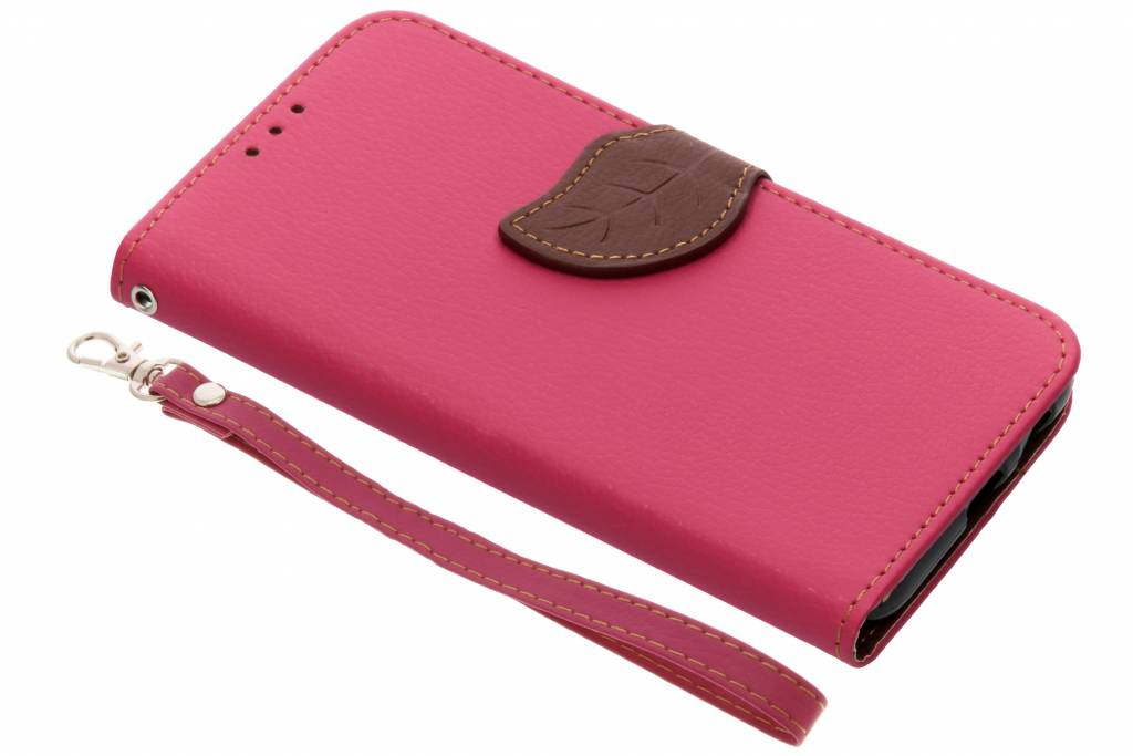 Fuchsia blad design TPU booktype hoes voor de Samsung Galaxy A6 (2018)