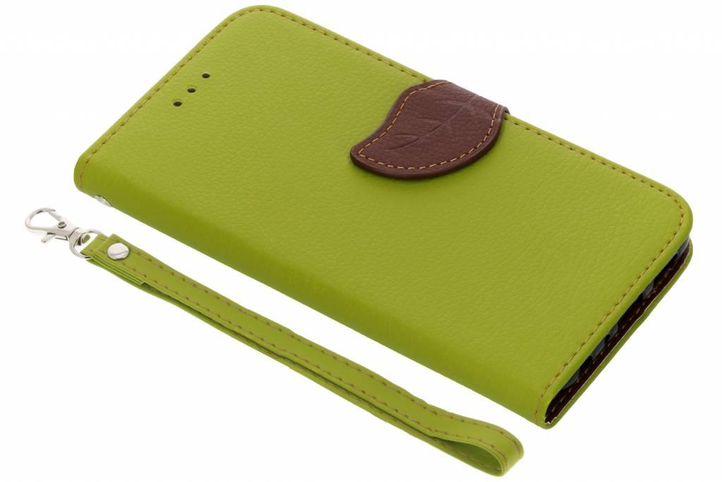 Groene blad design TPU booktype hoes voor de Huawei P Smart