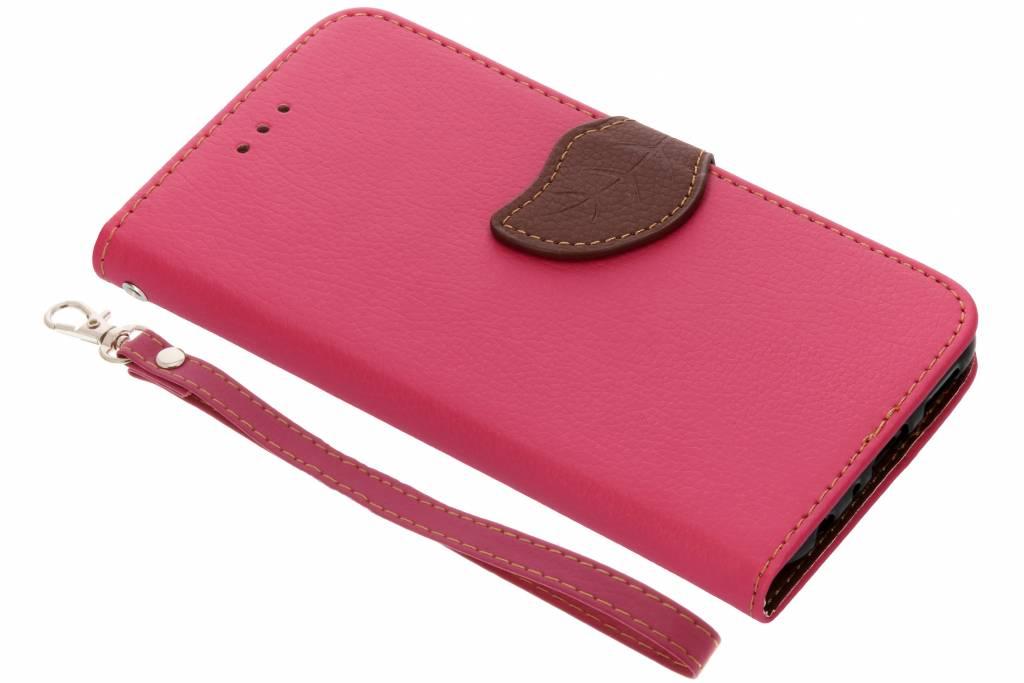 Blad Design Booktype voor Huawei P Smart - Fuchsia