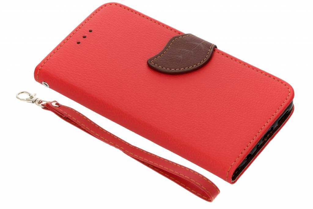 Rode blad design TPU booktype hoes voor de Huawei P Smart