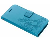 Turquoise klavertje bloemen booktype hoes Huawei P Smart