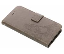 Grijs klavertje bloemen booktype hoes Huawei P Smart