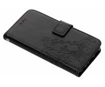 Zwart klavertje bloemen booktype hoes Huawei P Smart