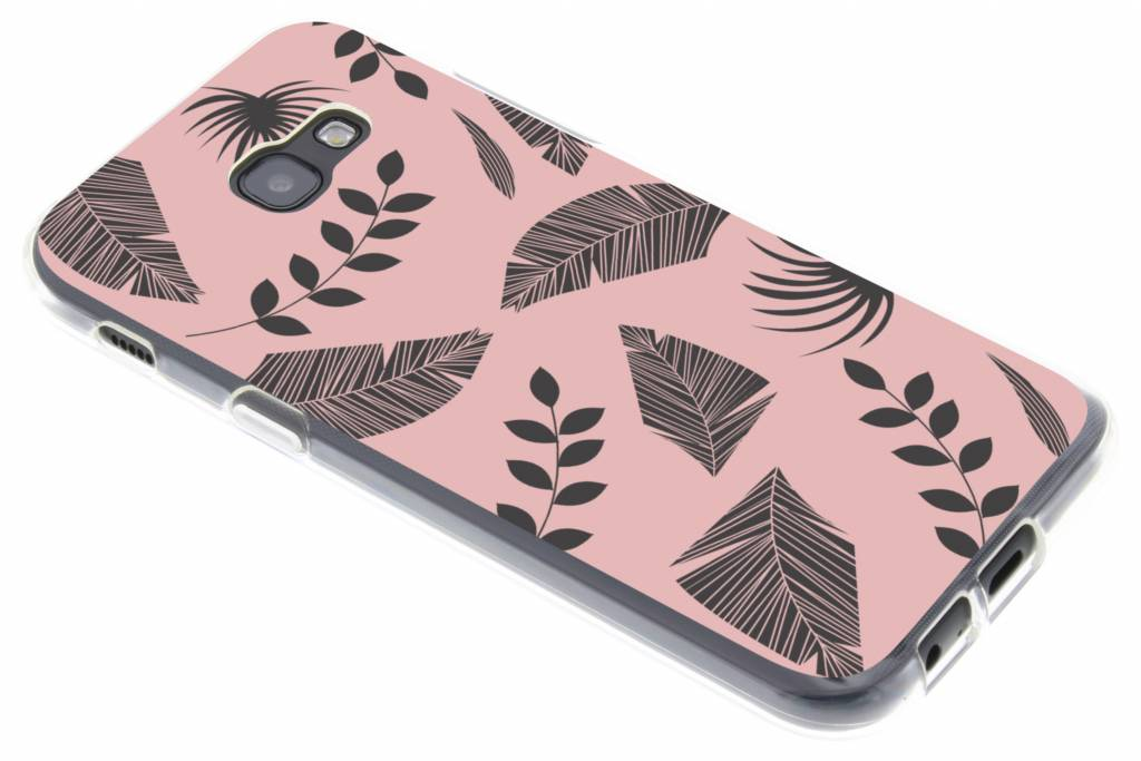 Leafs zwart design siliconen hoesje voor de Samsung Galaxy A5 (2017)