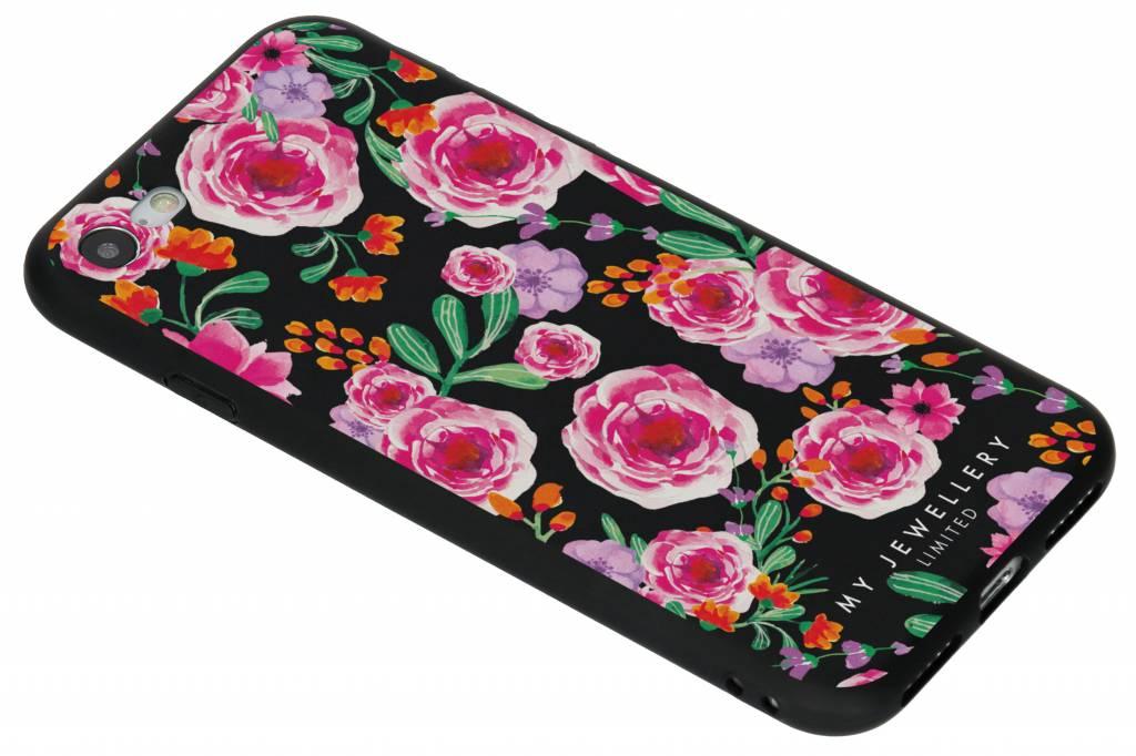 My Jewellery Design Backcover voor iPhone 8 / 7 - Pink Flowers Zwart