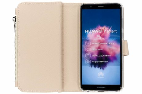 Selencia Saffiano 9 slots Portemonnee voor Huawei P Smart - Goud