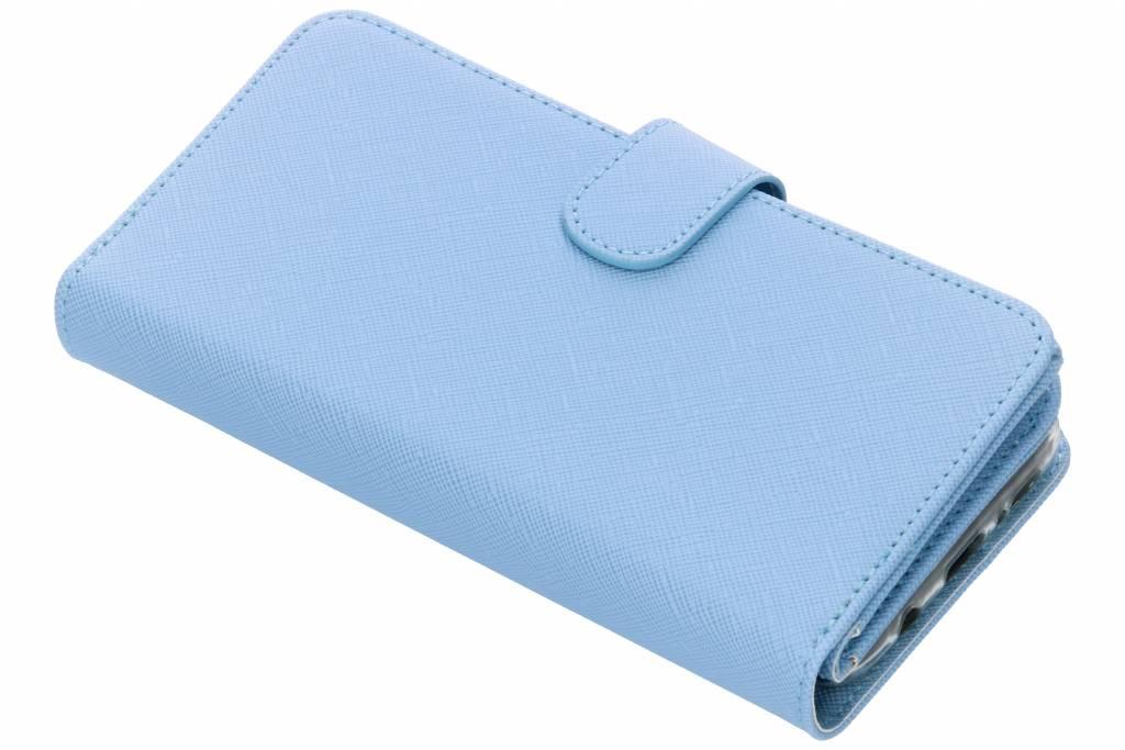 Lichtblauwe Saffiano 9 slots portemonnee hoes voor de Samsung Galaxy S9 Plus