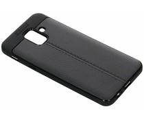 Zwart Lederen siliconen case Samsung Galaxy A6 (2018)