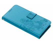 Turquoise klavertje bloemen booktype hoes Huawei Y6 (2018)