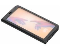 Zwart Lederen booktype hoes met venster Huawei P20 Lite