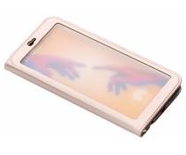 Rosé Goud Lederen booktype hoes met venster Huawei P20 Lite