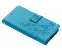 Turquoise klavertje bloemen booktype hoes Huawei Y5 (2018)