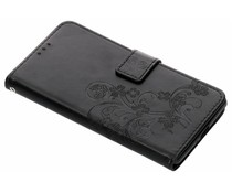 Zwart klavertje bloemen booktype Sony Xperia XZ2 Premium