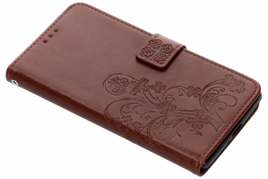 Klavertje Bloemen Booktype voor Sony Xperia XZ2 Premium - Bruin