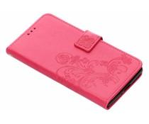 Fuchsia klavertje bloemen booktype Sony Xperia XZ2 Premium