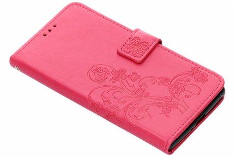 Klavertje Bloemen Booktype voor Sony Xperia XZ2 Premium - Roze