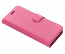 Fuchsia Litchi Booktype Hoes Wiko View Go