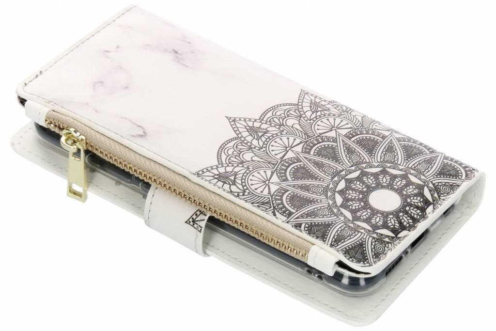 Mandala marmer design luxe portemonnee hoes voor de Huawei P20 Lite