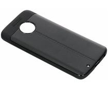 Zwart Lederen siliconen case Motorola Moto G6