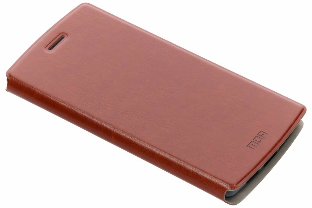 Bruine gladde booktype hoes voor de OnePlus One