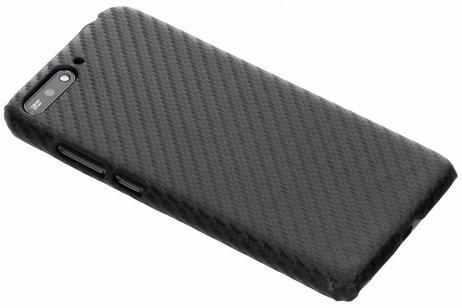 Carbon Hardcase Backcover voor Huawei Y6 (2018) - Zwart