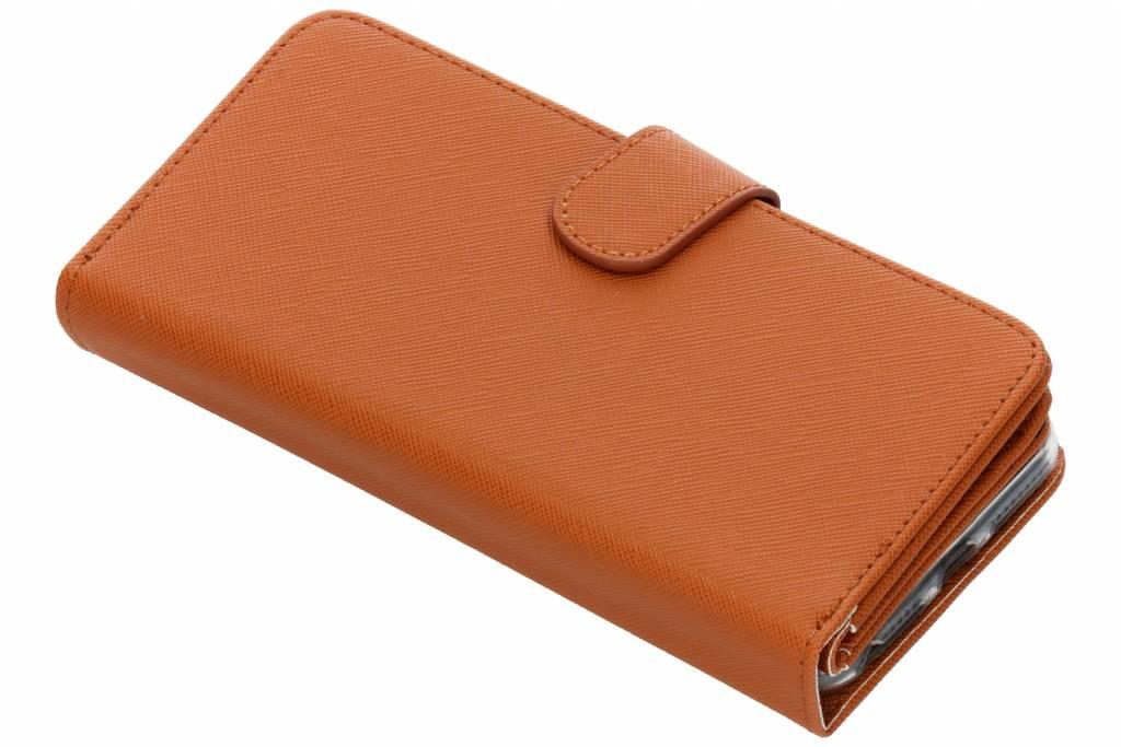 Bruine Saffiano 9 slots portemonnee hoes voor de iPhone 8 Plus / 7 Plus / 6(s) Plus