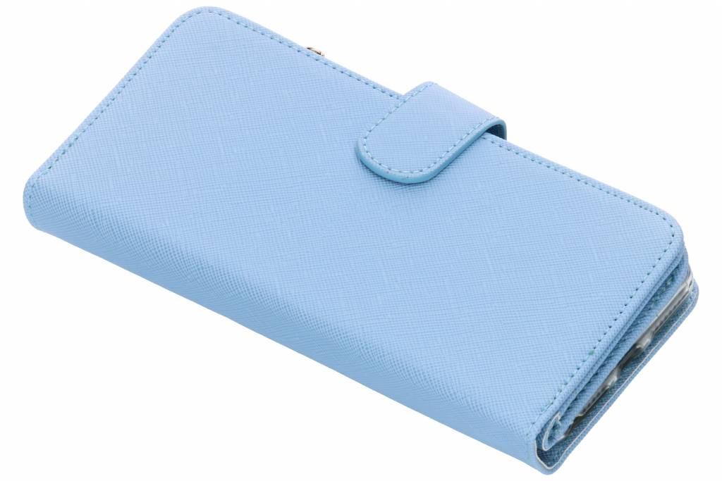Lichtblauwe Saffiano 9 slots portemonnee hoes voor de iPhone 8 Plus/7 Plus/ 6(s) Plus