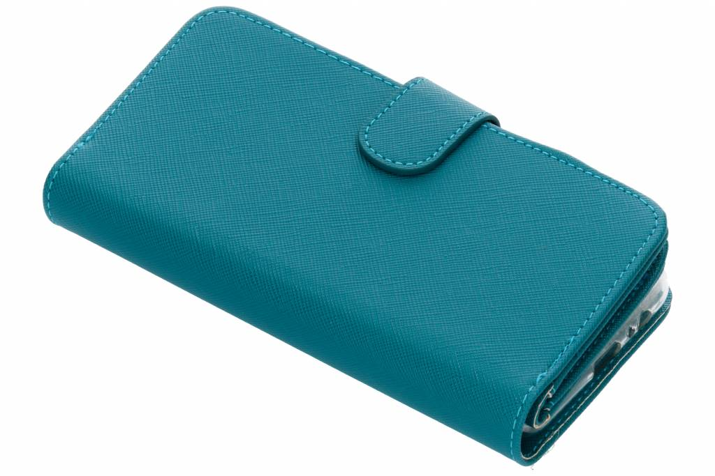 Turquoise Saffiano 9 slots portemonnee hoes voor de Samsung Galaxy A8 (2018)