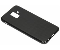 Zwart Carbon siliconen hoesje Samsung Galaxy A6 (2018)