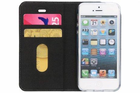 Design Softcase Booktype voor iPhone SE / 5 / 5s - Panter Groen