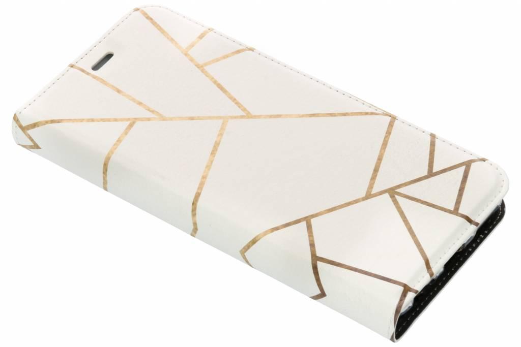 Design Softcase Booktype voor Huawei Mate 10 Lite - Grafisch Wit / Koper