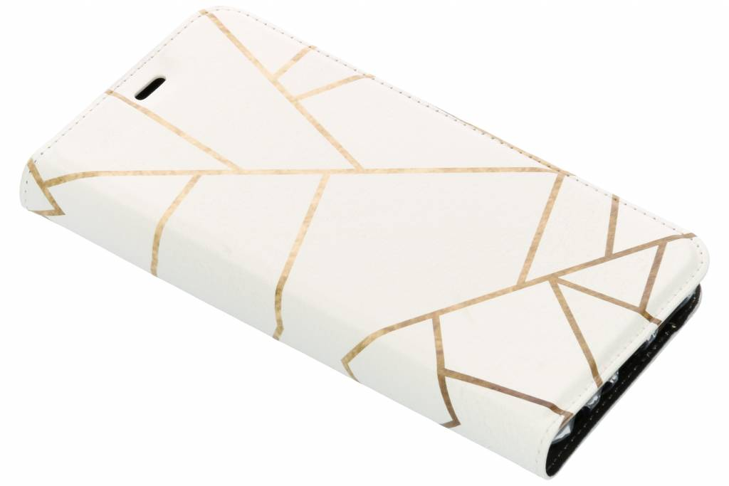 Wit Grafisch Design TPU Bookcase voor de Huawei P Smart