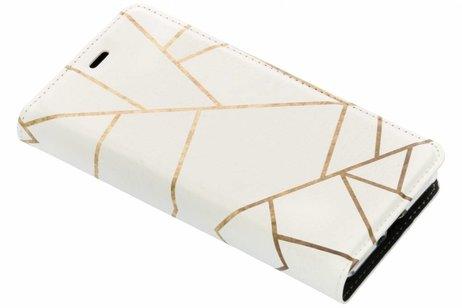 Design Softcase Booktype voor Sony Xperia XZ2 Compact - Grafisch Wit / Koper
