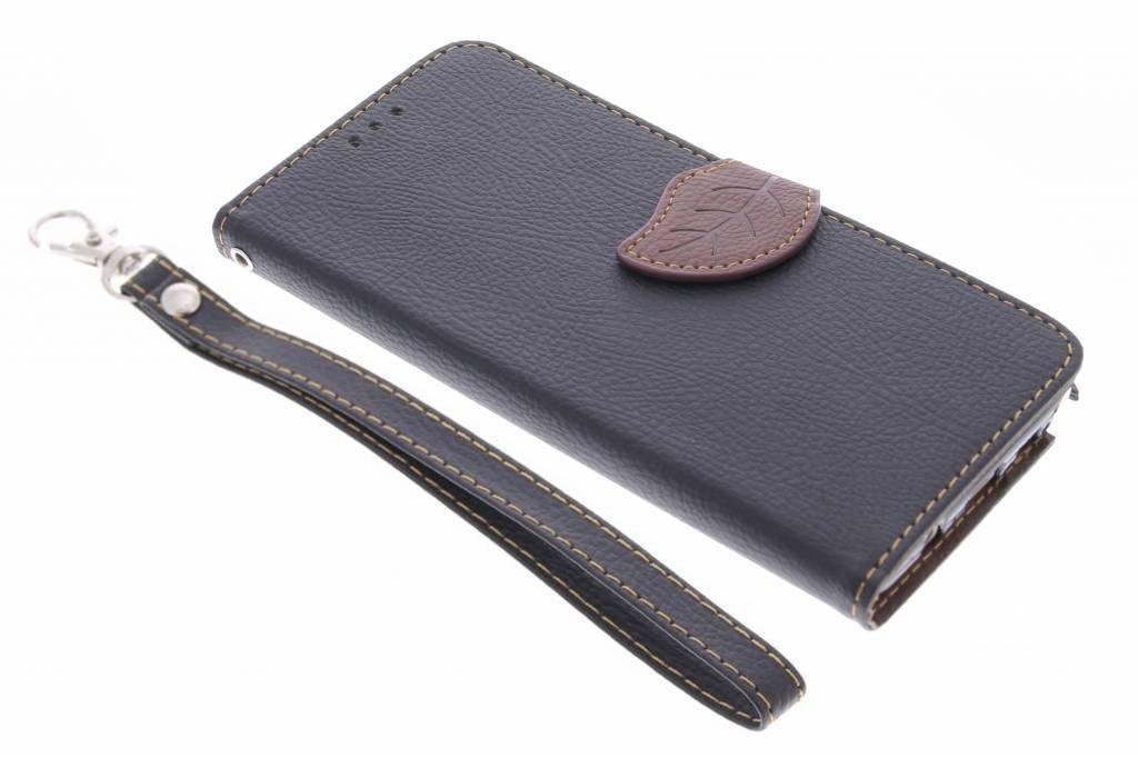 Zwarte blad design TPU booktype hoes voor de Samsung Galaxy Note 5