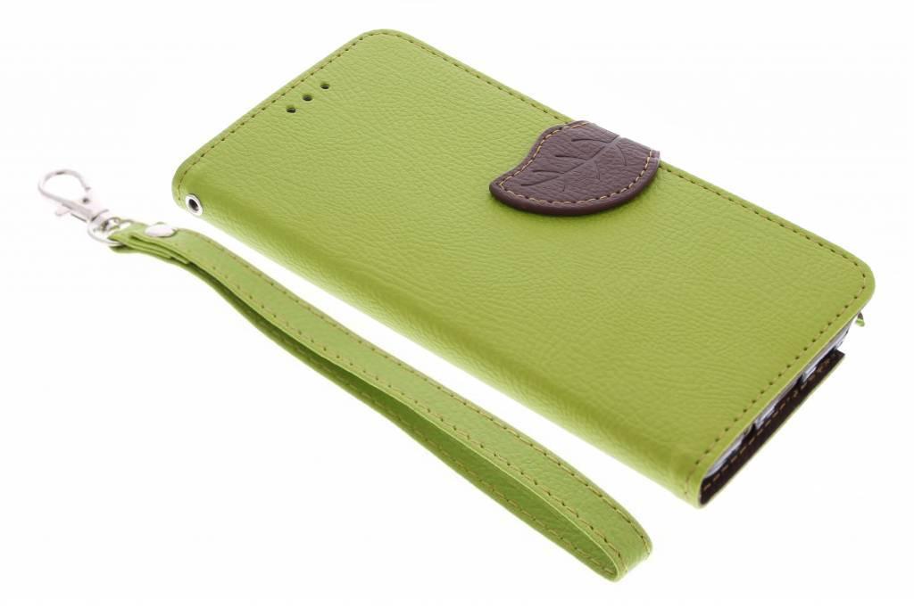 Groene blad design TPU booktype hoes voor de Samsung Galaxy Note 5