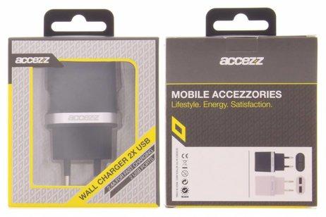 Accezz Zwarte Dual Port Wall Charger - 2.4A