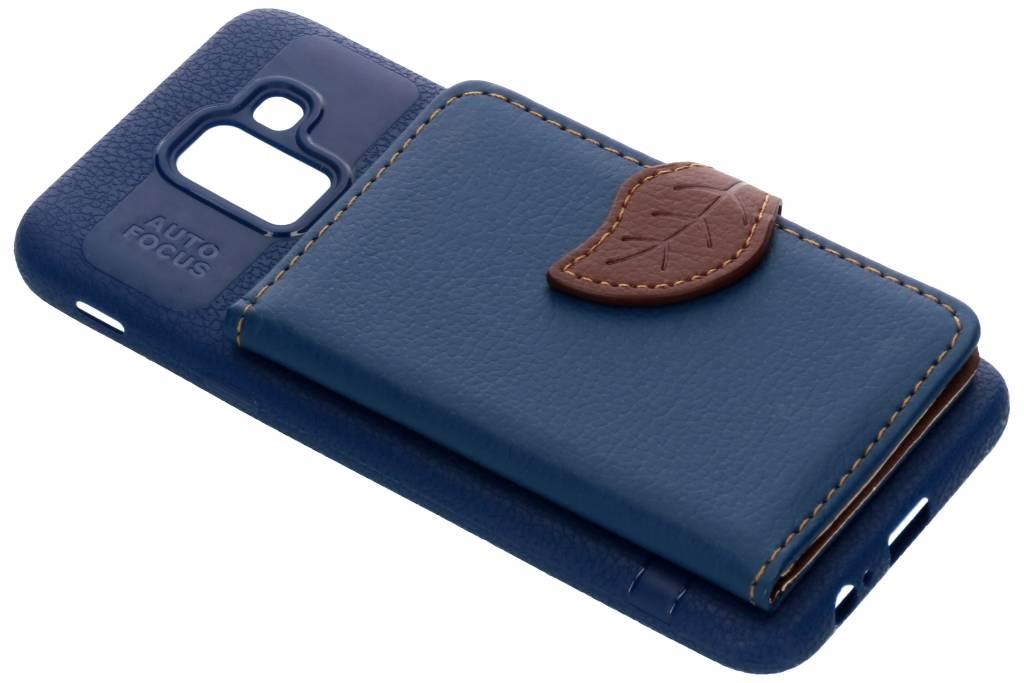 Blauw blad design TPU hoesje voor de Samsung Galaxy J6