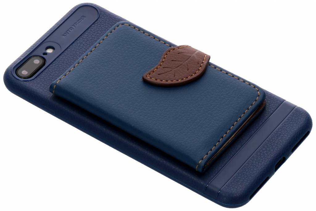 Blauw blad design TPU hoesje voor de iPhone 8 Plus / 7 Plus