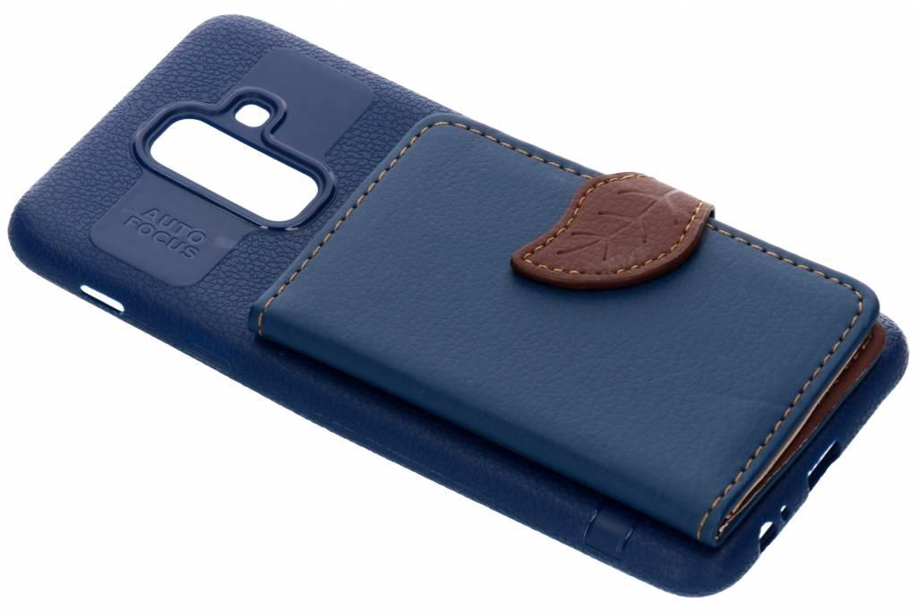 Blad Design Backcover voor Samsung Galaxy A6 Plus (2018) - Blauw