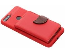 Rood blad design TPU hoesje Huawei Y6 (2018)