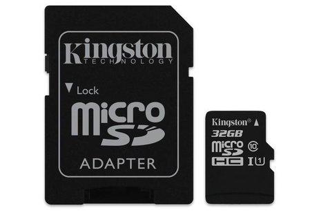 Kingston 32GB microSDHC 1 geheugenkaart klasse 10 + adapter